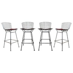 Mid-Century Modern Authentic Knoll Set of 4 Chrome Metal Wire Bar Stools, 1970s