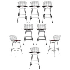 Mid-Century Modern Authentic Knoll Set of 8 Chrome Metal Wire Bar Stools, 1970s
