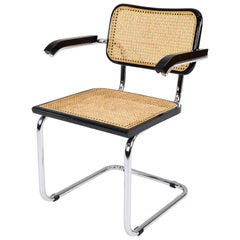 Mid-Century Modern B64 Cesca Chair with Arms by Marcel Breuer, Italy, 1970s