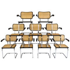Mid-Century Modern B64 Cesca Chairs Whit Arms by Marcel Breuer, Italy, 1970s