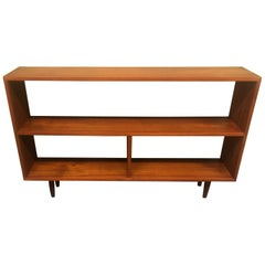 Mid-Century Modern Backless Low Profile Teak Bookcase with Tapered Legs