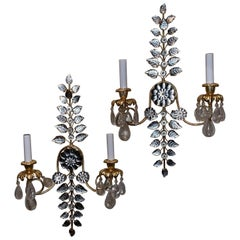 Mid-Century Modern Baguès French Rock Crystal Leaf Flower Beaded Crystal Sconces