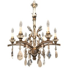 Mid-Century Modern Baguès Rock Crystal Gold Silver Gilt Beaded Swag Chandelier