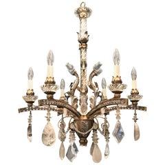 Mid-Century Modern Baguès Rock Crystal Gold Silver Gilt Beaded Swag Chandelier