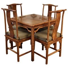 Mid-Century Modern Baker Attributed Asian Style Game Table and 4 Matching Chairs