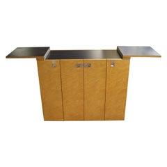 Mid-Century Modern Baker Burlwood Rolling Serving Bar Cart Cabinet, 1980's