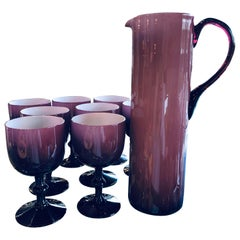 Mid-Century Modern Balboa Deep Purple Venetian Cased Glass Pitcher & 8 Goblets