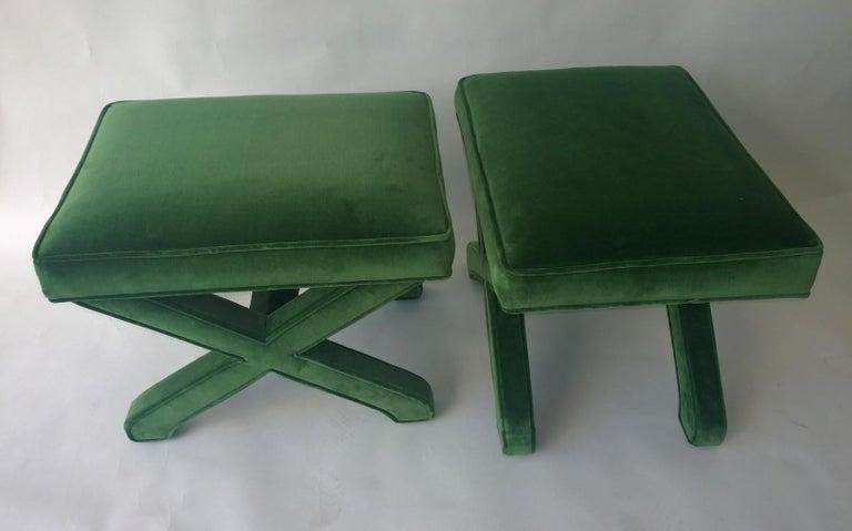 Mid-Century Modern Baldwin/ Baughman Style X Benches in Green Velvet, Pair For Sale 5