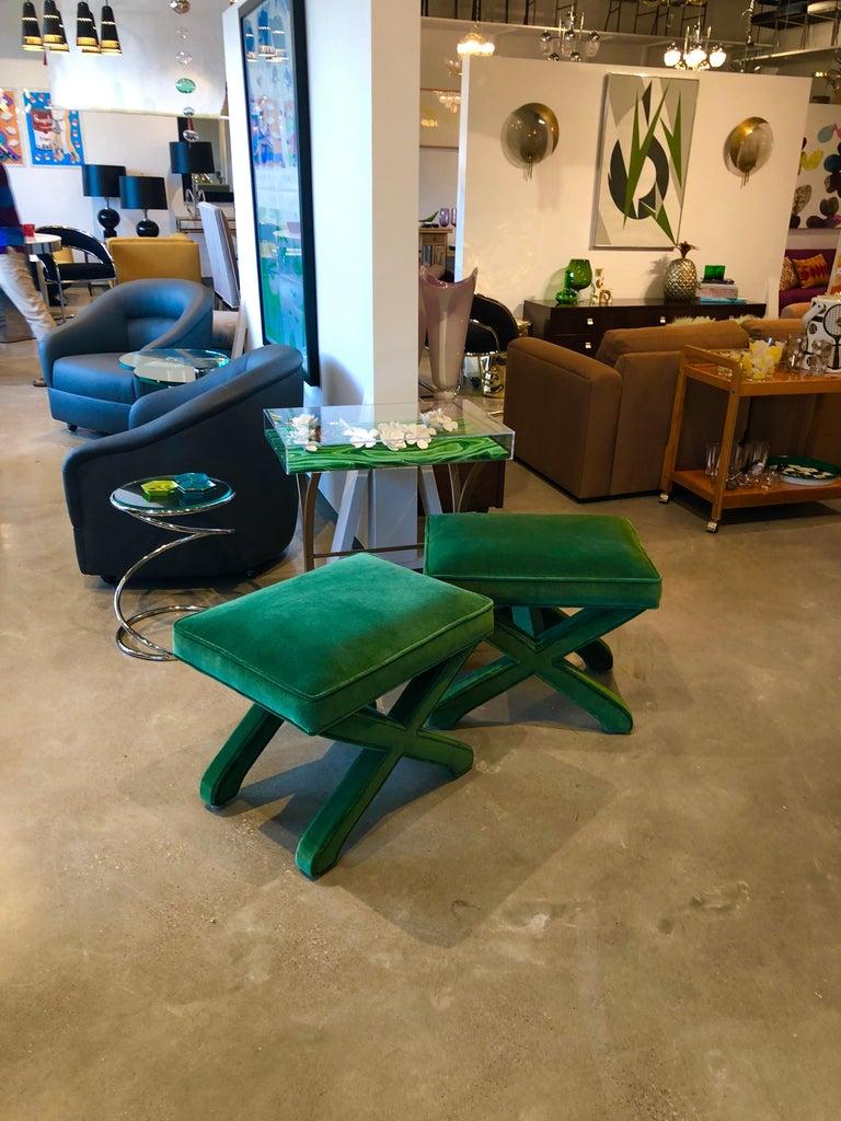 Mid-Century Modern Baldwin/ Baughman Style X Benches in Green Velvet, Pair For Sale 6