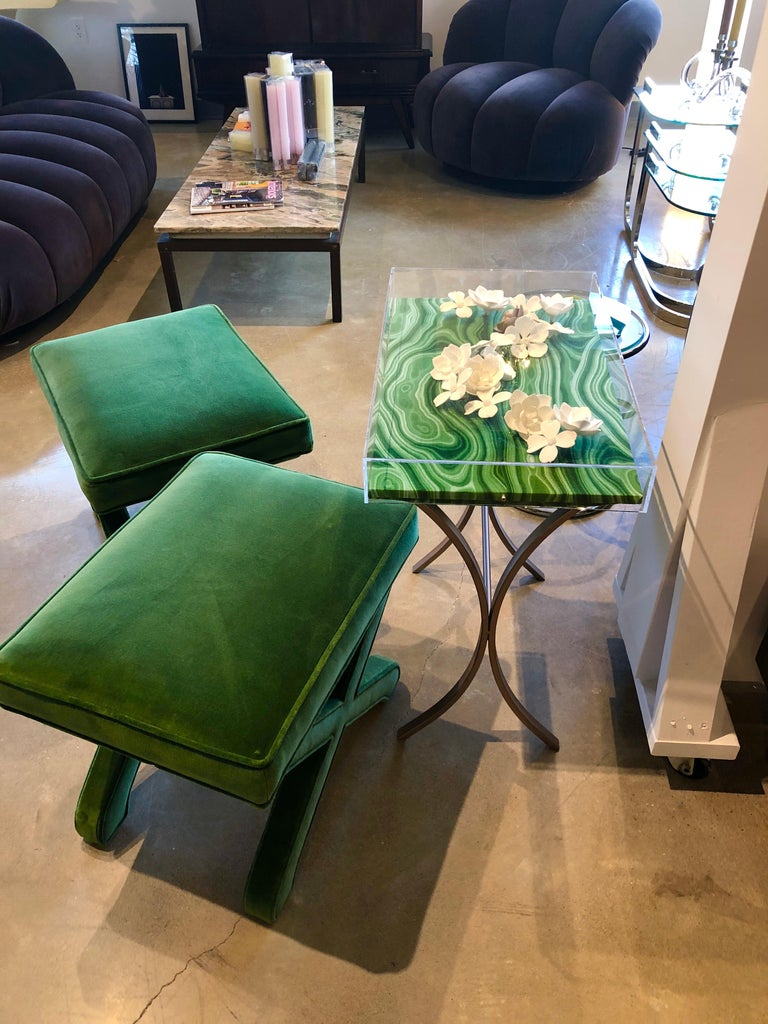 Mid-Century Modern Baldwin/ Baughman Style X Benches in Green Velvet, Pair For Sale 7