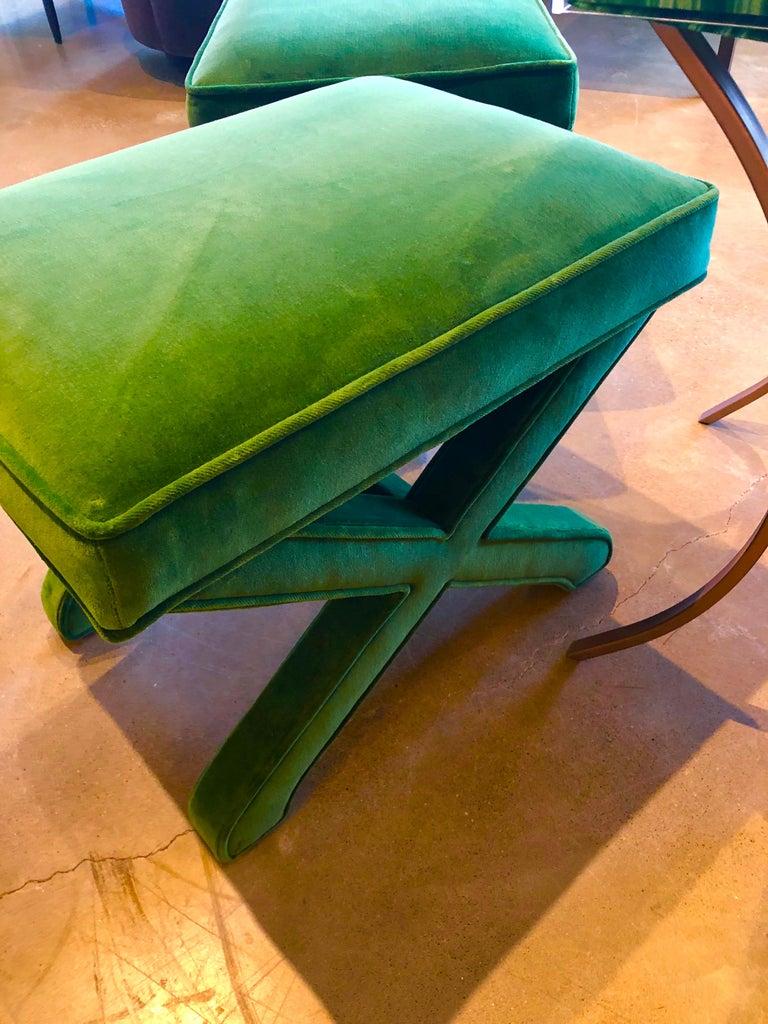 Mid-Century Modern Baldwin/ Baughman Style X Benches in Green Velvet, Pair For Sale 8