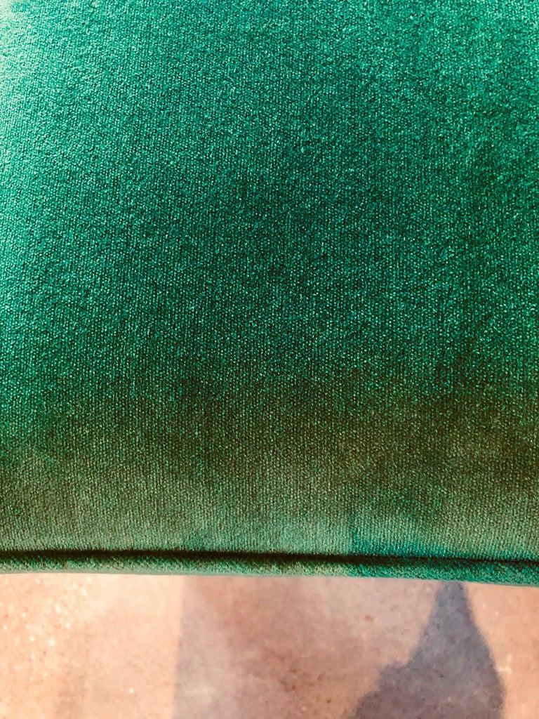 Mid-Century Modern Baldwin/ Baughman Style X Benches in Green Velvet, Pair For Sale 9