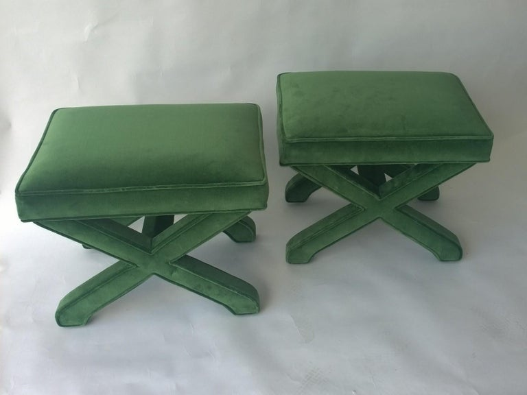 American Mid-Century Modern Baldwin/ Baughman Style X Benches in Green Velvet, Pair For Sale