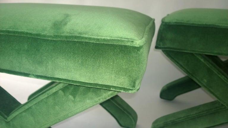 20th Century Mid-Century Modern Baldwin/ Baughman Style X Benches in Green Velvet, Pair For Sale