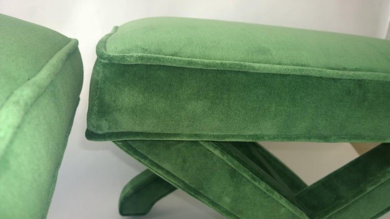 Mid-Century Modern Baldwin/ Baughman Style X Benches in Green Velvet, Pair For Sale 1