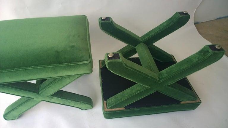 Mid-Century Modern Baldwin/ Baughman Style X Benches in Green Velvet, Pair For Sale 2
