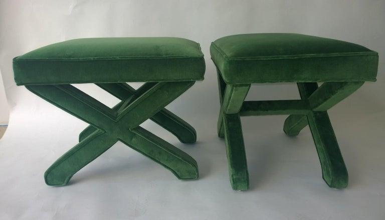 Mid-Century Modern Baldwin/ Baughman Style X Benches in Green Velvet, Pair For Sale 4