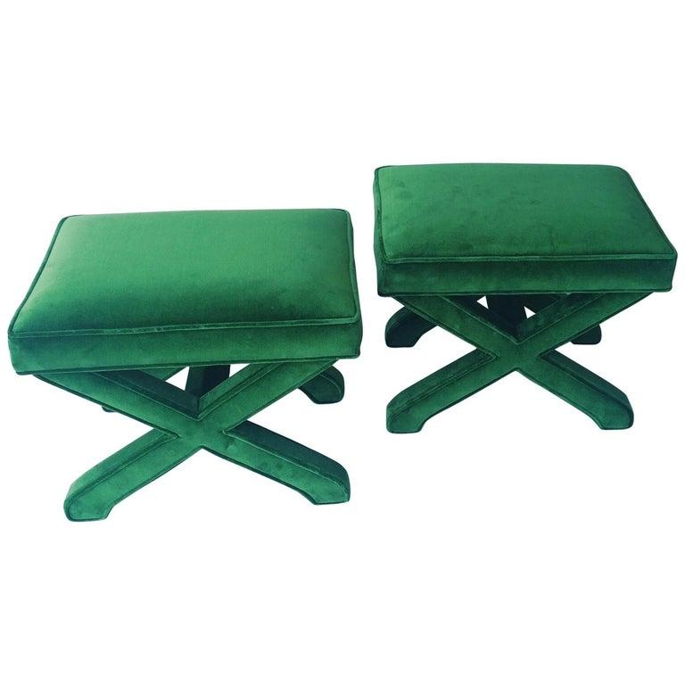 Mid-Century Modern Baldwin/ Baughman Style X Benches in Green Velvet, Pair For Sale