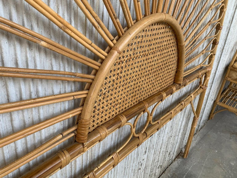 Spanish Mid-Century Modern Bamboo and Bentwood Headboard For Sale