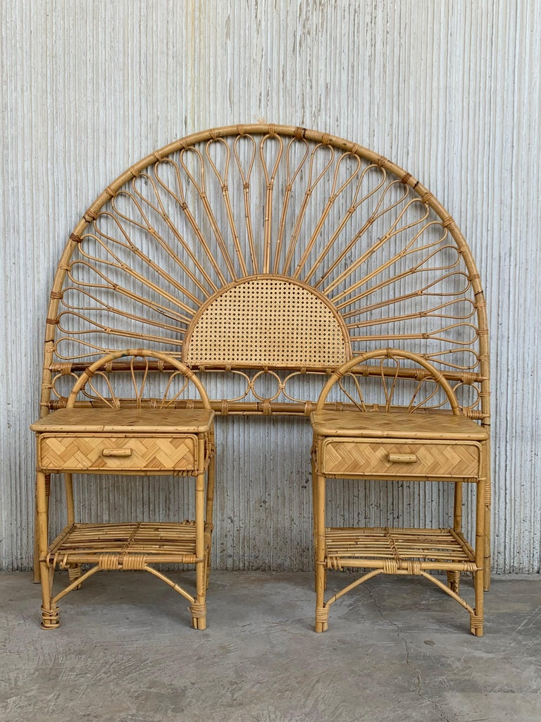 20th Century Mid-Century Modern Bamboo and Bentwood Headboard For Sale