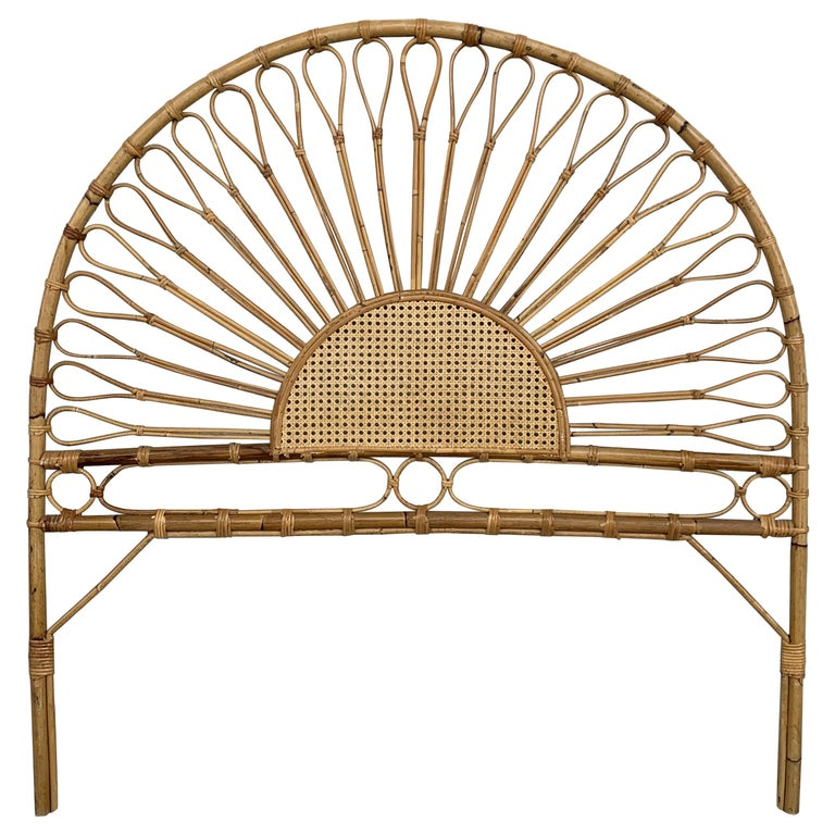 Mid-Century Modern Bamboo and Bentwood Headboard For Sale