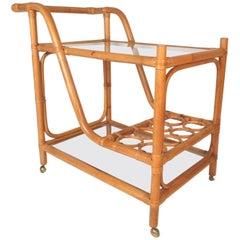 Mid-Century Modern Bamboo and Glass Bar Cart