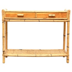 Mid-Century Modern Bamboo and Rattan Console French Rivera, circa 1960