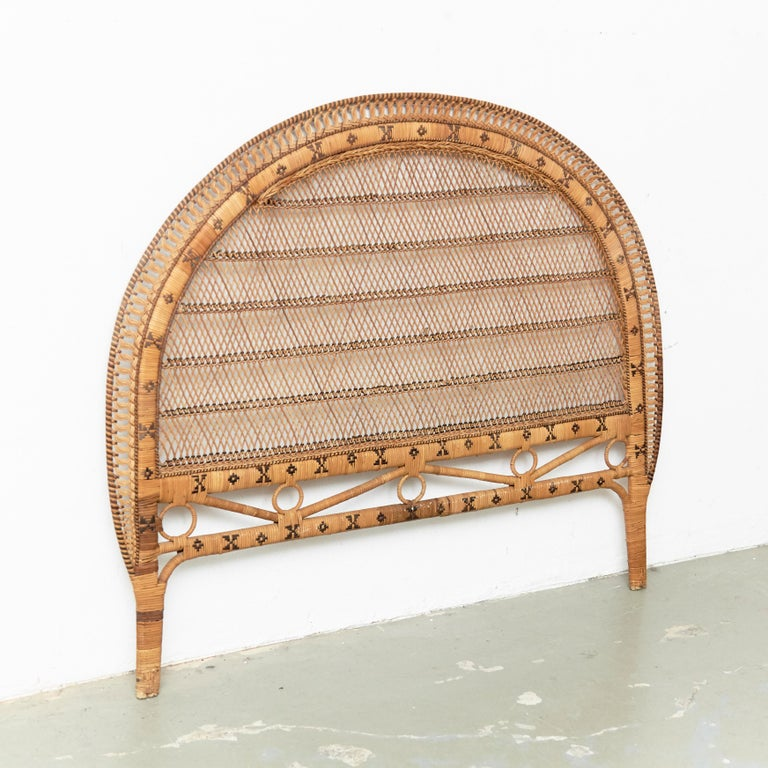 Spanish Mid-Century Modern Bamboo and Rattan Headboard Handcrafted French Riviera, 1960 For Sale