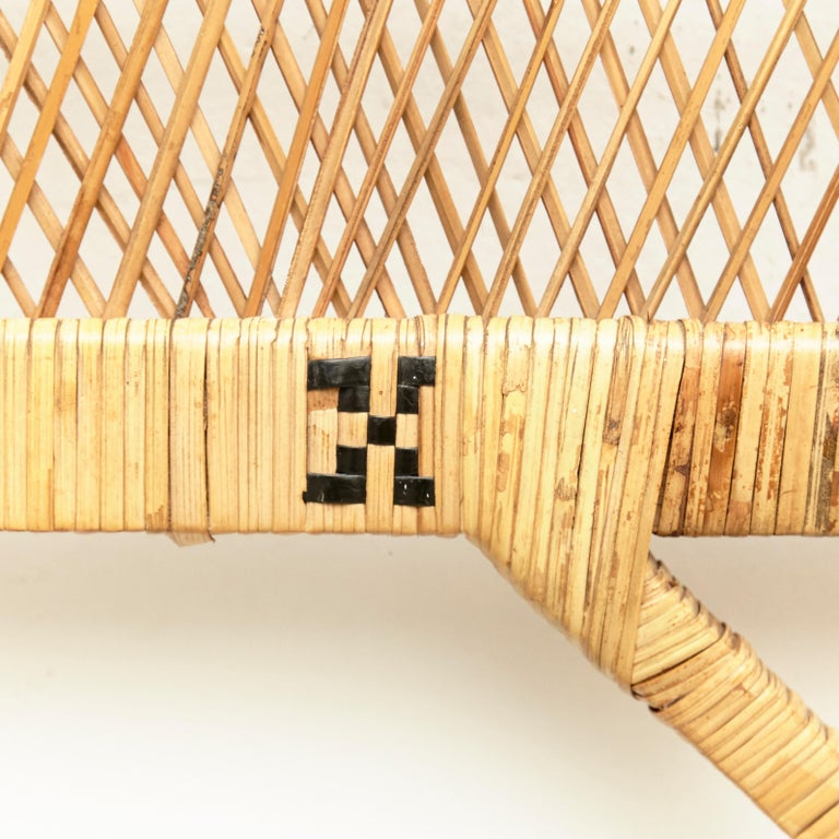 Mid-Century Modern Bamboo and Rattan Headboard Handcrafted French Riviera, 1960 In Good Condition For Sale In Barcelona, Barcelona