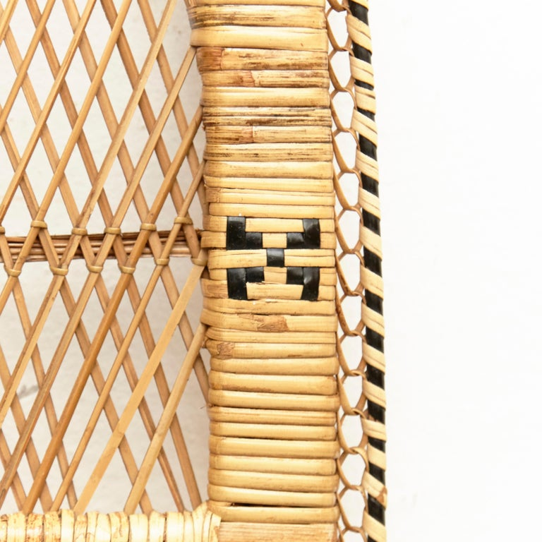 Mid-20th Century Mid-Century Modern Bamboo and Rattan Headboard Handcrafted French Riviera, 1960 For Sale