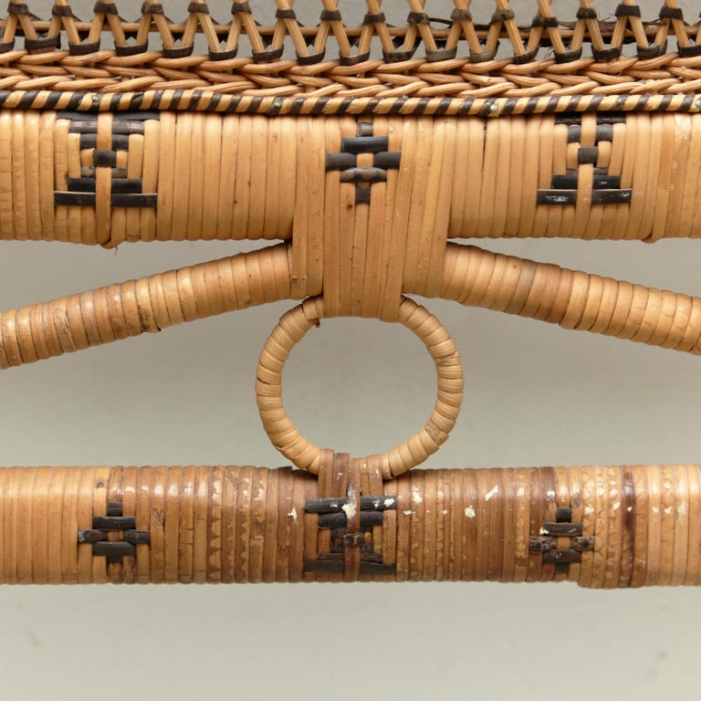 Mid-Century Modern Bamboo and Rattan Headboard Handcrafted French Riviera, 1960 For Sale 1