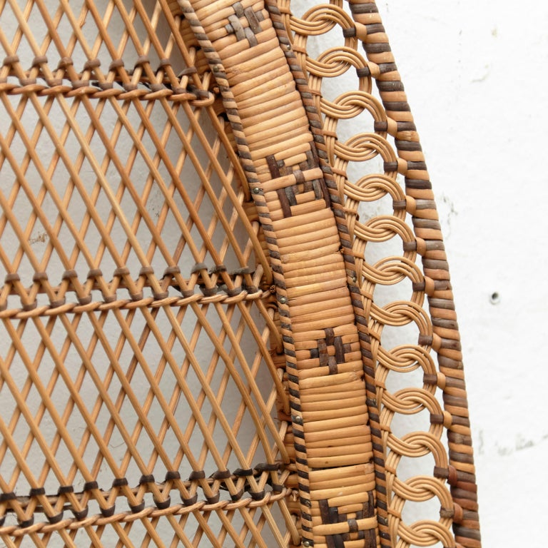 Mid-Century Modern Bamboo and Rattan Headboard Handcrafted French Riviera, 1960 For Sale 3