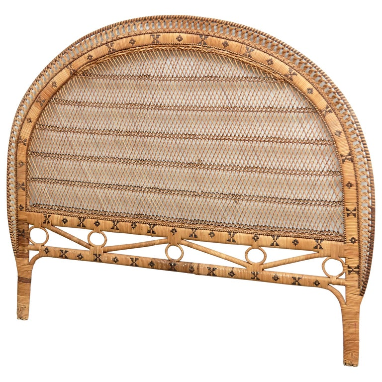 Mid-Century Modern Bamboo and Rattan Headboard Handcrafted French Riviera, 1960 For Sale