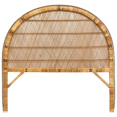 Mid-Century Modern Bamboo and Rattan Headboard Handcrafted French Riviera, 1960