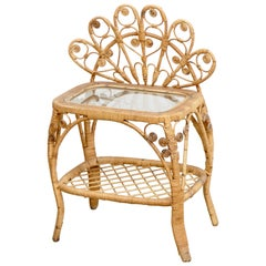 Mid-Century Modern Bamboo and Rattan Side Table, circa 1960