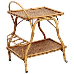 Mid-Century Modern Bamboo and Rattan Trolley Table, circa 1960