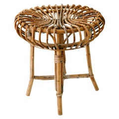 Mid-Century Modern Bamboo and Wicker Stool 1950s Italy