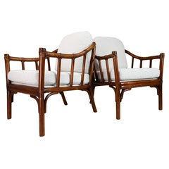 Mid-Century Modern Bamboo and Wood Armchairs, France, 1950s