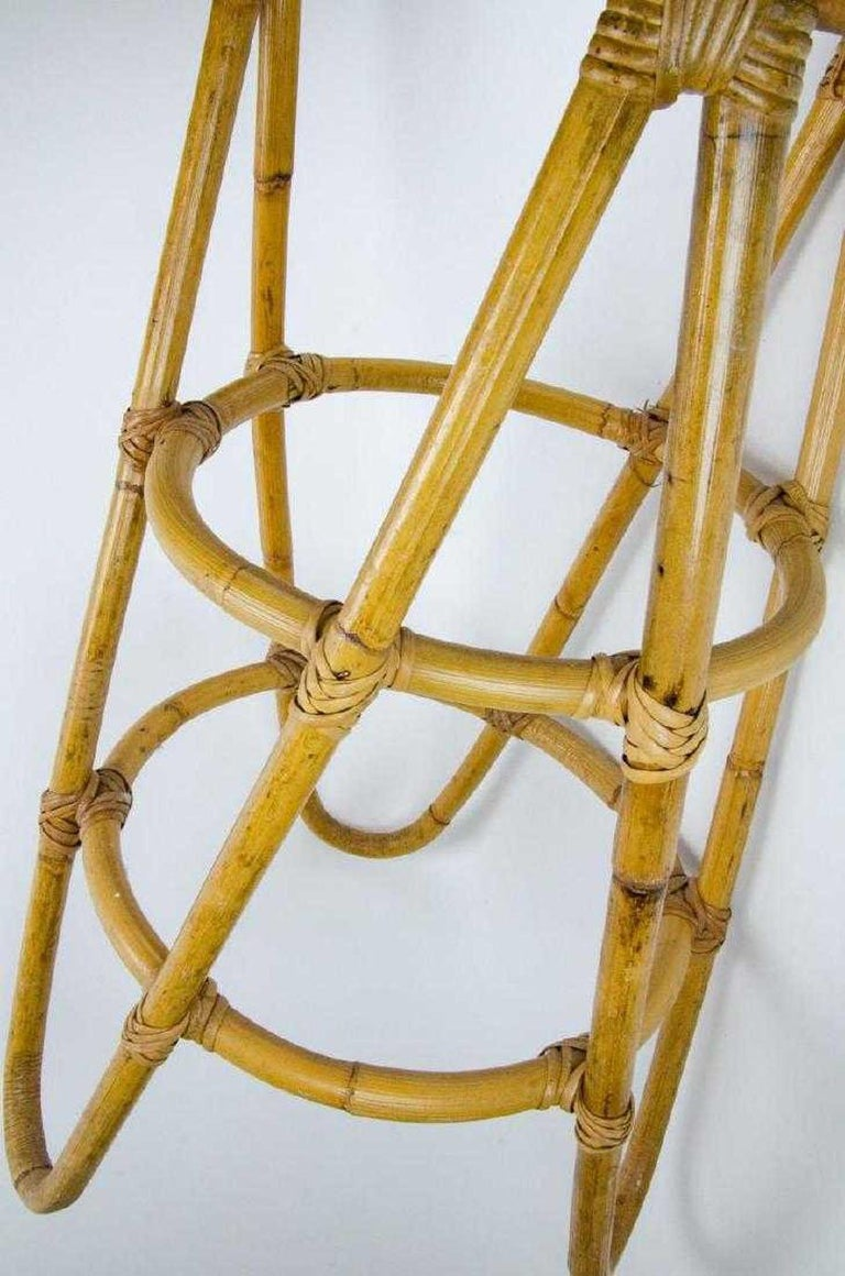 Mid-Century Modern Bamboo Bar Stools In Good Condition For Sale In Great Barrington, MA