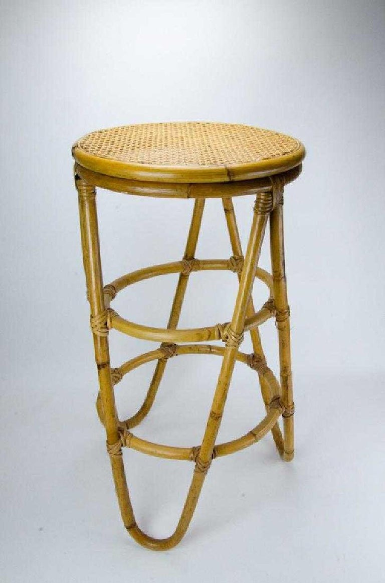 Mid-20th Century Mid-Century Modern Bamboo Bar Stools For Sale