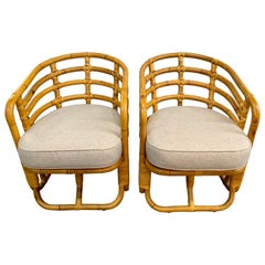 Mid-Century Modern Bamboo Barrel Back Lounge Chairs, Pair