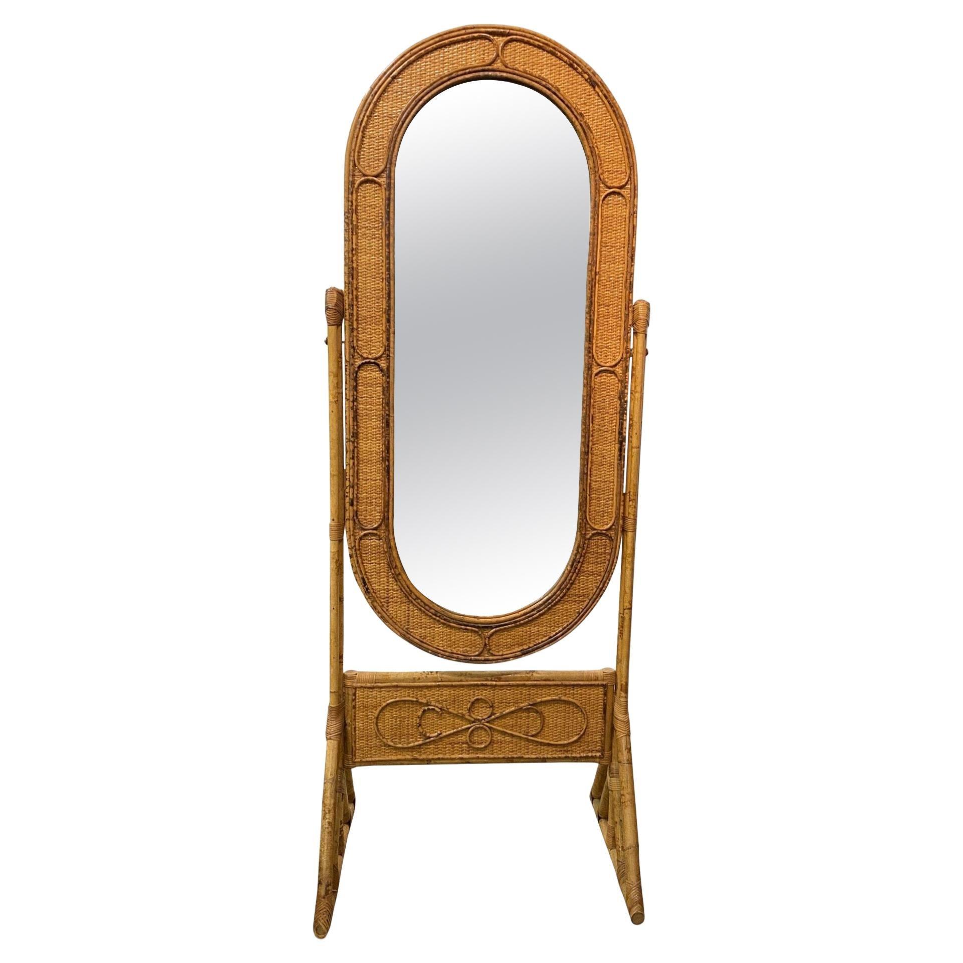 Mid-Century Modern Bamboo Cheval Mirror Full Length Floor