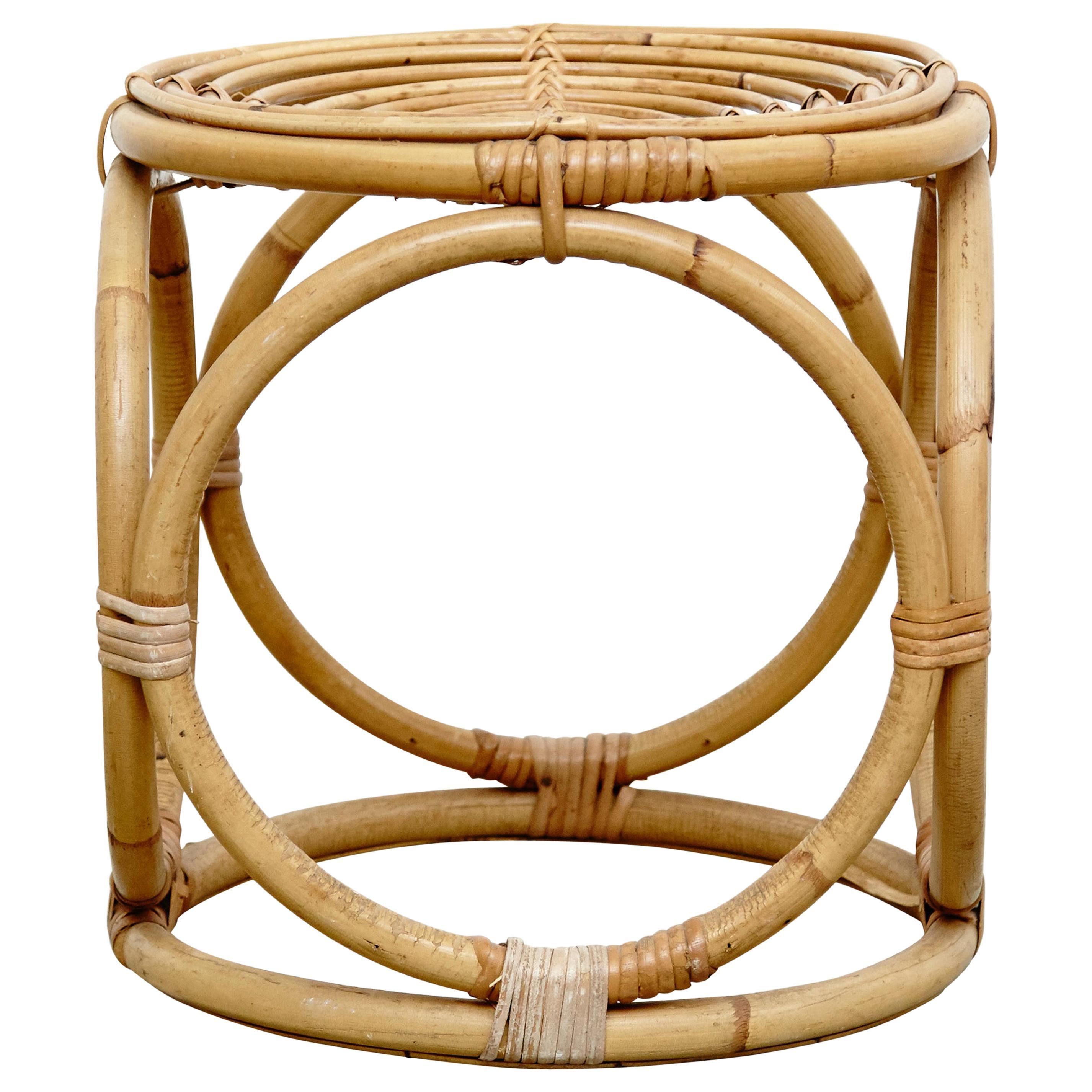 Mid-Century Modern Bamboo French Stool, circa 1960