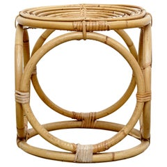Mid-Century Modern Bamboo French Stool, circa 1960