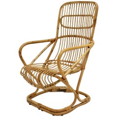 Mid-Century Modern Vintage Bamboo High Back Armchair, 1960s, Italy