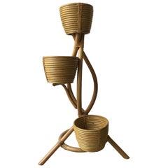 Mid-Century Modern Bamboo Italian Flower Pot Stand, Italy, 1970s
