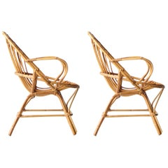 Mid-Century Modern Bamboo Pair of Armchairs, France, 1970