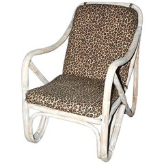 Mid-Century Modern Bamboo Porch Lounging Armchair