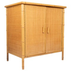 Mid-Century Modern Bamboo and Rattan Cabinet Cupboard, Spain, circa 1970