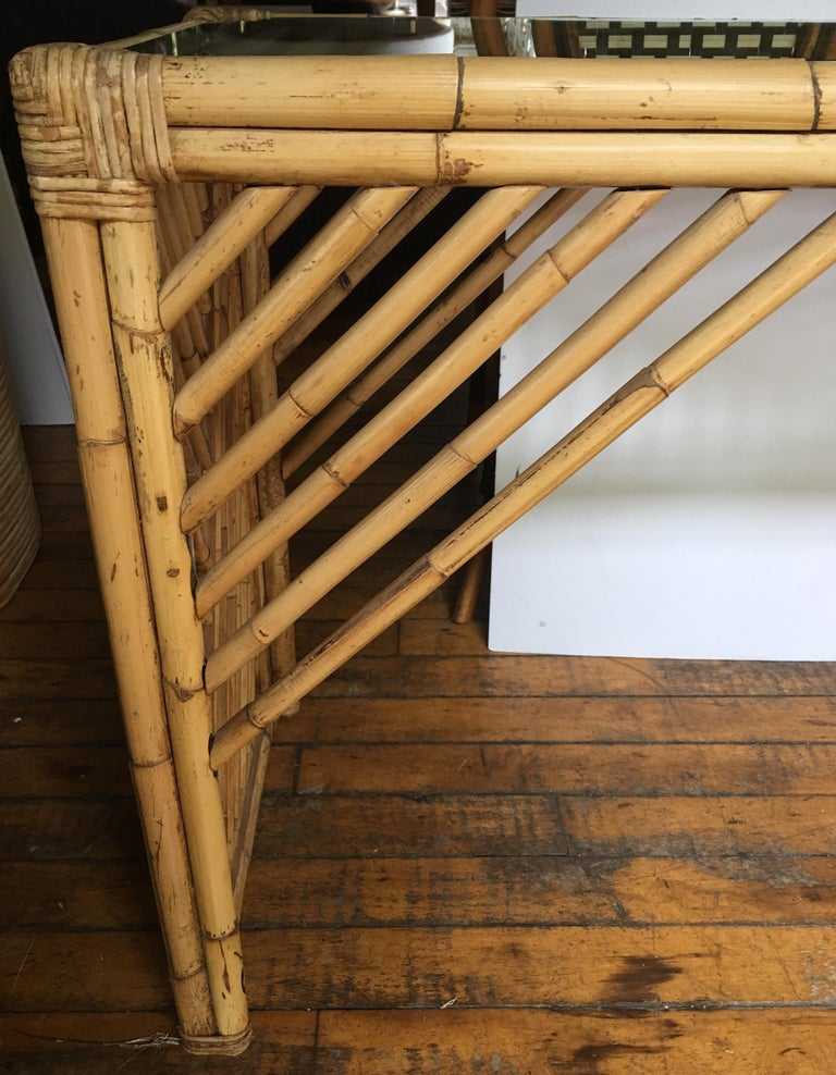 Mid-Century Modern Bamboo Rattan Fretwork Console Table with Stool Ottomans For Sale 6